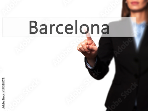 Barcelona - Female touching virtual button. Poster