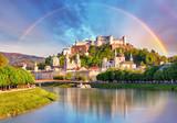 Fototapeta Tęcza - Austria, Rainbow over Salzburg castle
