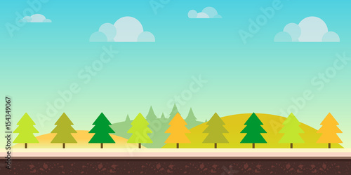 Poster Turquoise Seamless cartoon nature landscape. Hills, trees, clouds and sky,background for games mobile applications and computers. Vector illustration for your design