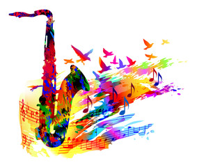 FototapetaMusic background with saxophone, flying birds and music notes