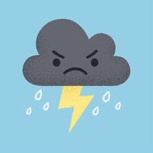Cute Cartoon Storm Cloud