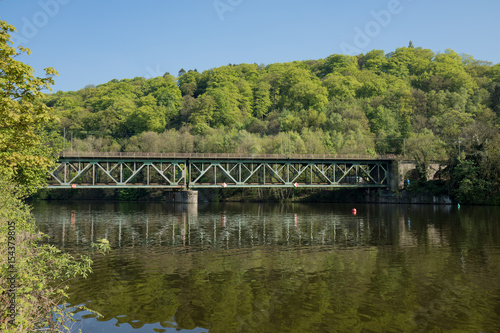 Photo  Railway Bridge Steel Over The River Ruhr In Essen Kettwig / Kettwiger See