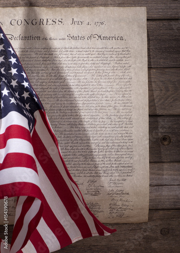 Fotografie, Tablou American Flag Next to the Declaration of Independence