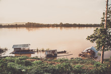 Old Boat On The Mekong River, ...