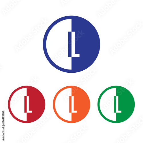 IL initial circle half logo blue,red,orange and green color