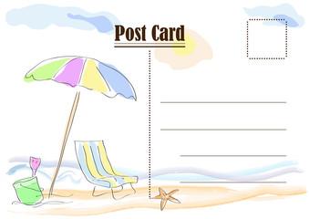 Summer postcard. Vector drawing abstract beach