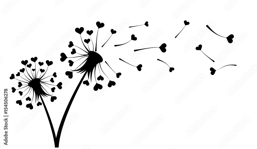 Fototapety, obrazy: Dandelion with hearts.