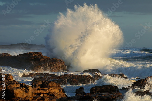 Staande foto Water Seascape with large breaking wave on coastal rocks, South Africa .