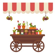 Wagon With Flowers In Store