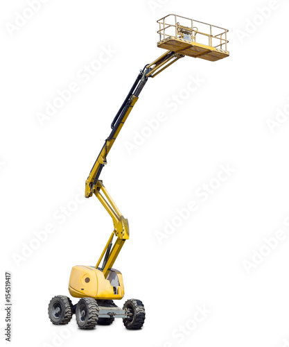 Photo Self propelled articulated boom lift on a light background