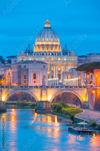 Poster Rome Night view at St. Peter's cathedral in Rome, Italy