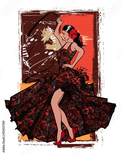 Tuinposter Art Studio Flamenco spanish dancer woman
