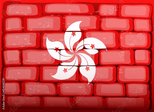 Photo  Flag of HongKong painted on the wall