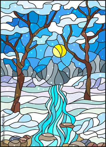 Naklejki witrażowe  illustration-in-stained-glass-style-with-a-frozen-creek-in-the-background-of-the-sky-snowy