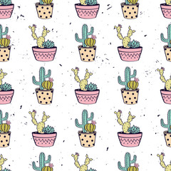 Naklejka Vector colorful hand drawn seamless pattern with cactuses and succulents in pots on grunge texture. Modern scandinavian design