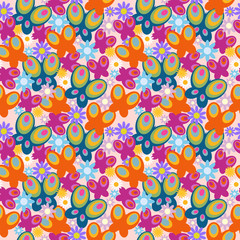 Cute floral seamless pattern with butterflies and daisies