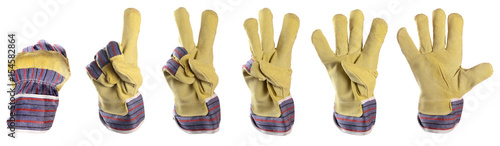 Photo  Working mens gloves on white background