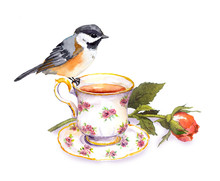 Hand Drawn Small Watercolor Bird On Tea Cup And Rose Flower
