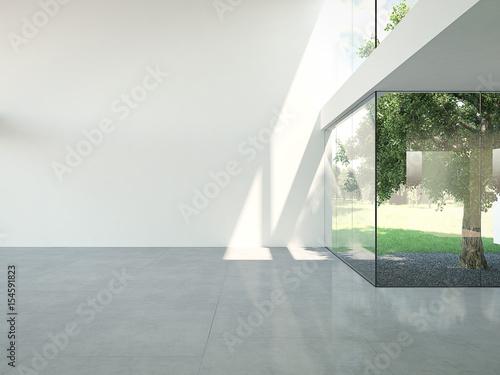 Photo empty loft apartment. 3d rendering
