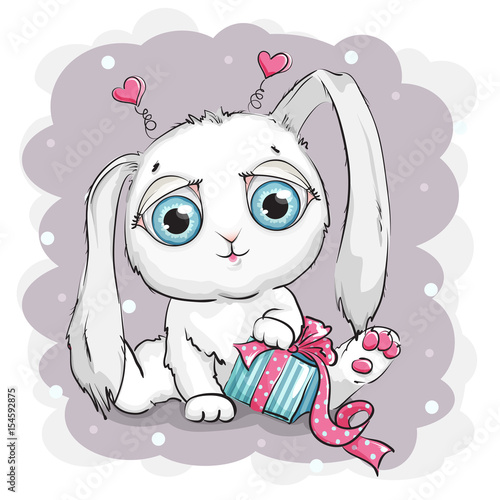 Beautiful and cute white rabbit with gift box