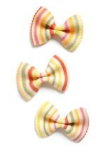 Multicolor Striped Farfalle Bowtie Pasta On White Background