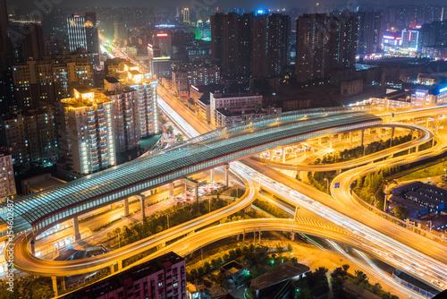 Fotobehang Nacht snelweg city interchange closeup at night