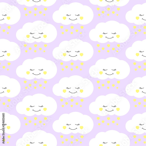 Cute Baby Cloud Pattern Vector Seamless Girl Print With Clouds And