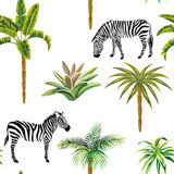 Animal zebra palm trees cactus seamless white background - 154613008