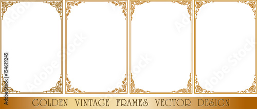 Fotografering  Gold photo frame with corner thailand line floral for picture, Vector design decoration pattern style
