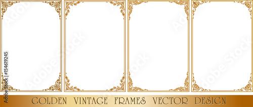 Fényképezés  Gold photo frame with corner thailand line floral for picture, Vector design decoration pattern style