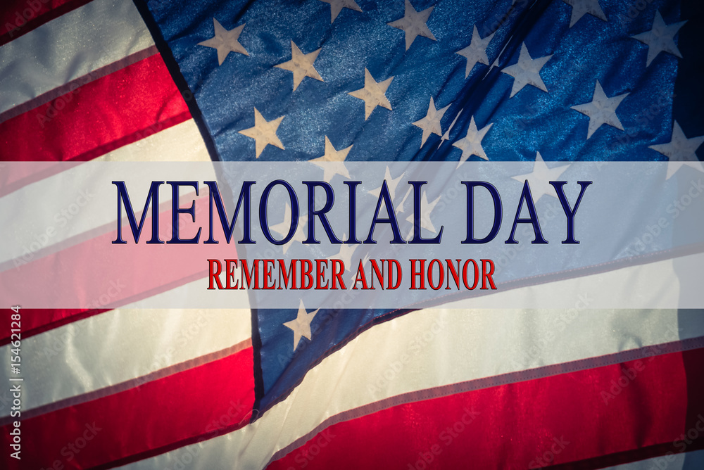 Fototapety, obrazy: Text Memorial Day and Honor on flowing American flag background. Concept of Memorial day or Veteran's day in America.