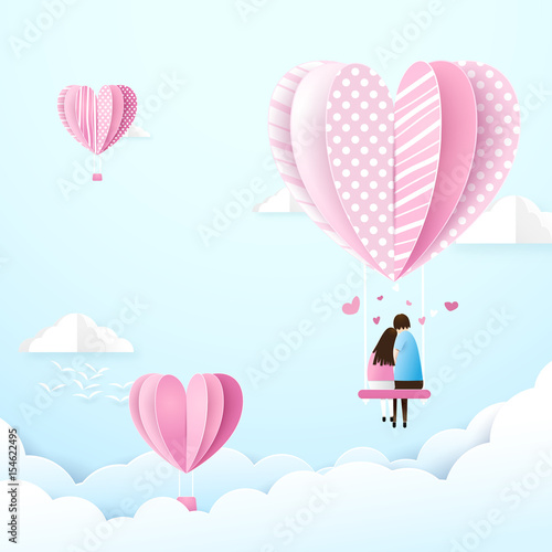 Happy couple in love swings with heart shape balloons in the air. Paper art and craft style
