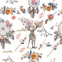 Botanical Background With Roses, Field Flowers And Butterflies In Vintage Style