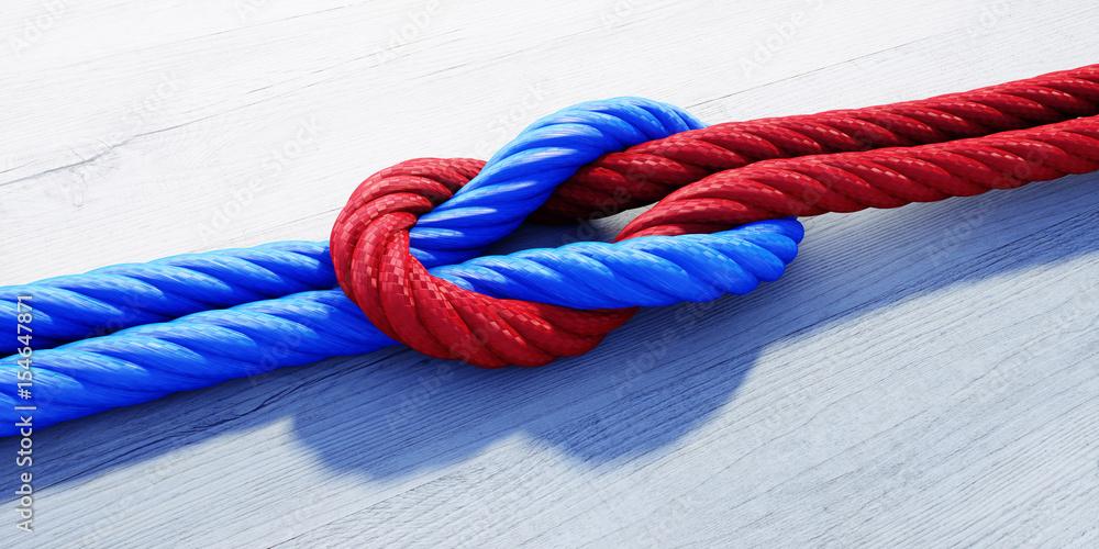 Fototapeta Kreuzknoten mit rotem und blauem Seil auf weißem Holz