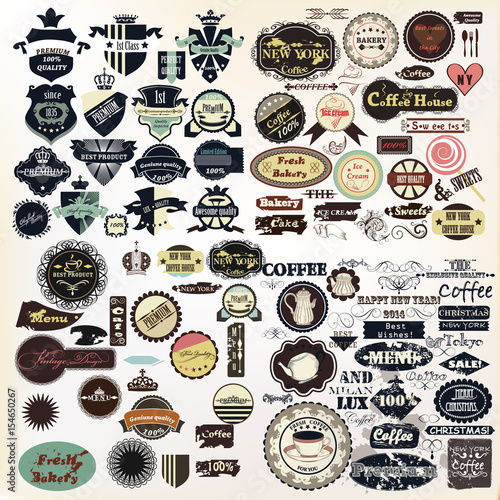 Huge collection of vector labels, badges, logotypes, signatures Wall mural