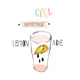 Hand drawn vector abstract creative funny lemonade illustration with glass beaker,lemon slise,drops and handwritten ink modern calligraphy quote Cool Homemade lemonade isolated on white.Menu,sign - 154653870