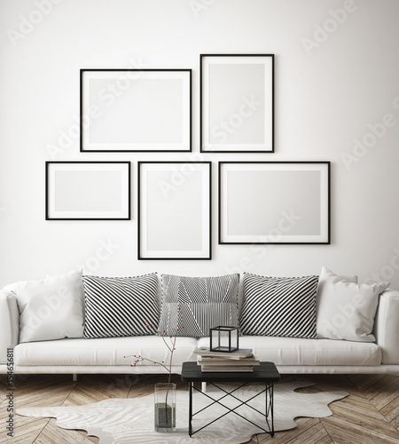 Fotografía  mock up poster frame in hipster interior background, scandinavian style, 3D rend