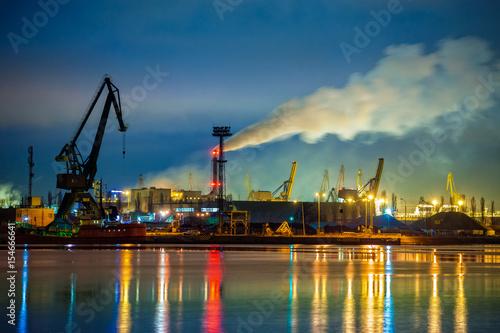 Plakat Strefa przemysłu - Port Gdański nocą, Polska