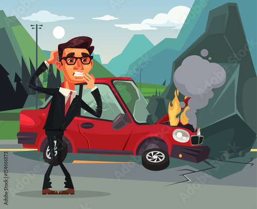 Staande foto Cartoon cars Car accident. Angry crying scaring victim businessman office worker character. Vector flat cartoon illustration