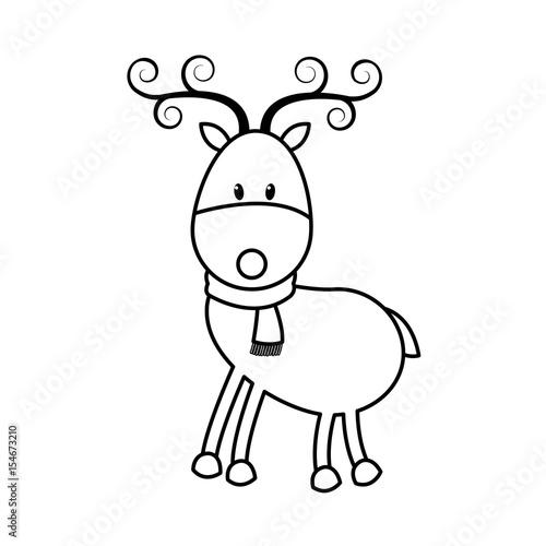 christmas cute reindeer scarf standing animal cartoon outline vector