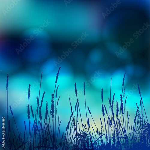 Poster Turquoise Vector abstract defocused bokeh lights nature spring summer background. Stylish hipster blurry background with bokeh effect for holidays, parties, birthdays. Pure color, simple clean style.