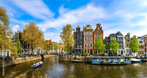 Amsterdam, Holland: Spring sunny day in the city Canvas Print