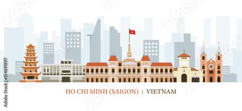 Saigon or Ho Chi Minh City, Vietnam Landmarks Skyline