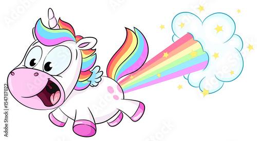 Niedliches Einhorn pupst Regenbogen Vektor Illustration
