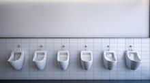 Row Of Six Urinals , 3d Rendering