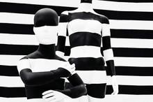 Art Mannequin Black And White Stripes, On Striped With Black And White Stripes. Disguise.
