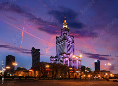fototapeta na szkło Palace of Culture and Science in the evening