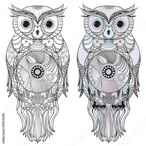 Owl Design Zentangle Hand Drawn Owl With Abstract Patterns On