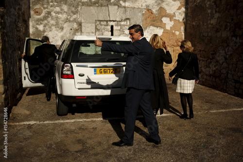 Gibraltarian Social Democrats' leader Feetham gives a thumbs