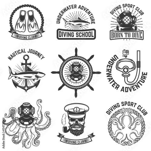 Set of scuba diving club emblems. Design elements for logo, label, emblem, sign. Vector illustration Wall mural